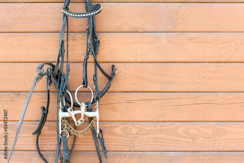 Fotografija Horse bridle with decoration hanging on stable wooden wall. Clos