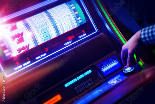 Casino Slot Machine Player плакат