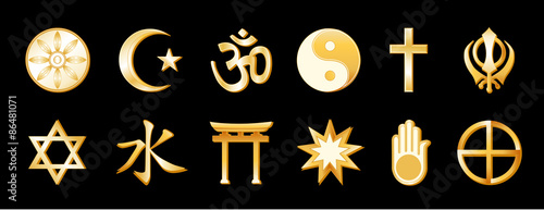 World Religions, symbols of international faiths, Buddhism, Islam, Hindu, Taoism, Christianity, Sikh. Judaism, Confucianism, Shinto, Baha'i, Jain, Native Spirituality