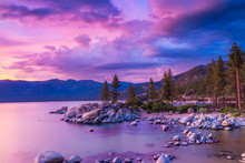 Sunset Over Lake Tahoe With Stormy Clouds Over Sierra Nevada Mountains, Dramatic Sky