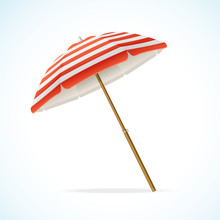 Vector Beach Umbrella Red And White