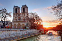 Paris - Notre Dame At Sunrise,...