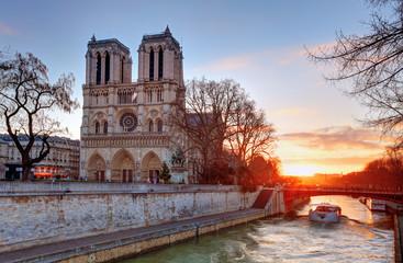 Paris - Notre Dame at sunrise, France
