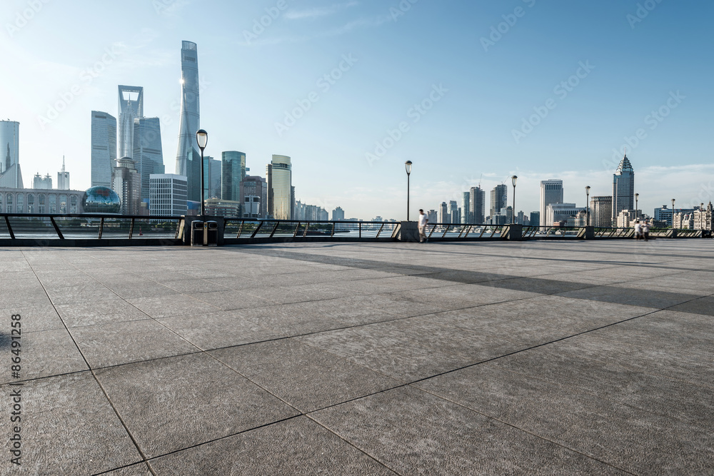 Fototapety, obrazy: panoramic skyline of shanghai with empty street floor