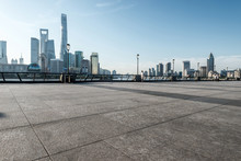 Panoramic Skyline Of Shanghai With Empty Street Floor