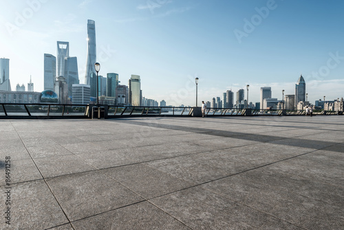 panoramic skyline of shanghai with empty street floor