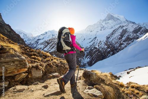 Fotografiet Hiker on the trek in Himalayas, Anapurna valley, Nepal