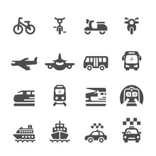 Transportation And Vehicles Icon Set, Vector Eps 10