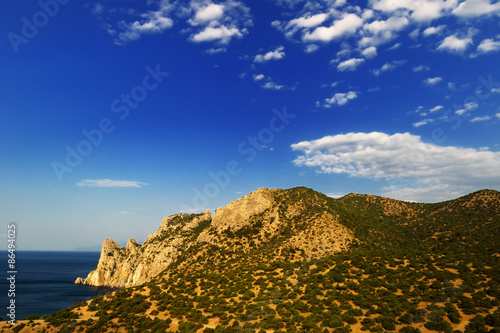 Crimean mountain landscape in the early morning