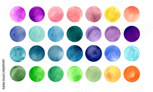 Fotografía  Watercolour circle textures. Mega-useful pack for you to drag
