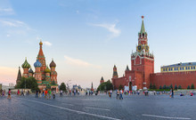 Moscow Kremlin, Spasskaya Tower  And St. Basil Cathedral. Red Square