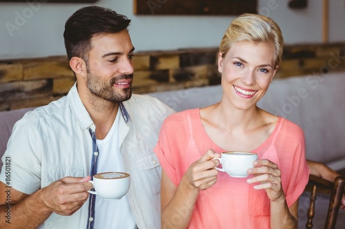 Canvas Prints Textures Couple taking a cup of coffee