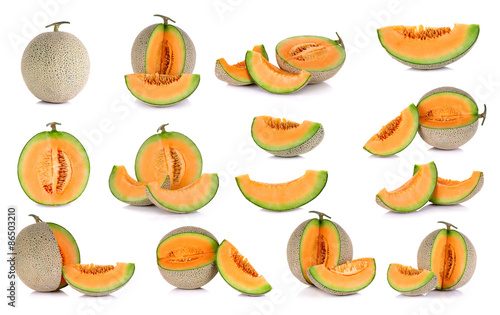 Collection cantaloupe melon fruit isolated on the white backgrou