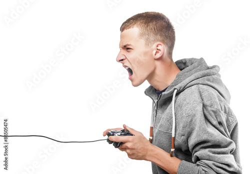 Photo  Young man with a joystick