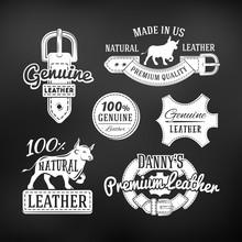 Set Of Leather Quality Goods Vector Designs. Vintage Belt Logo