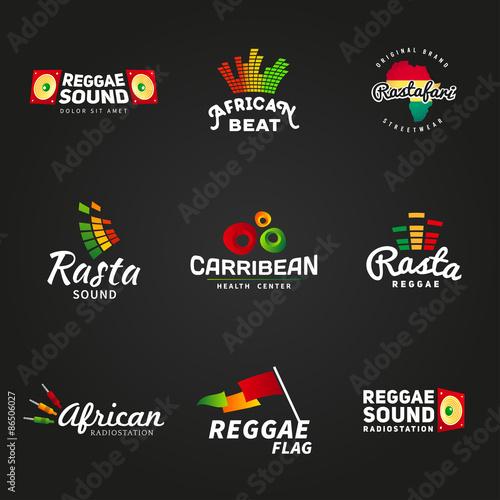 Obraz na plátně Set of african rastafari sound vector logo designs. Jamaica