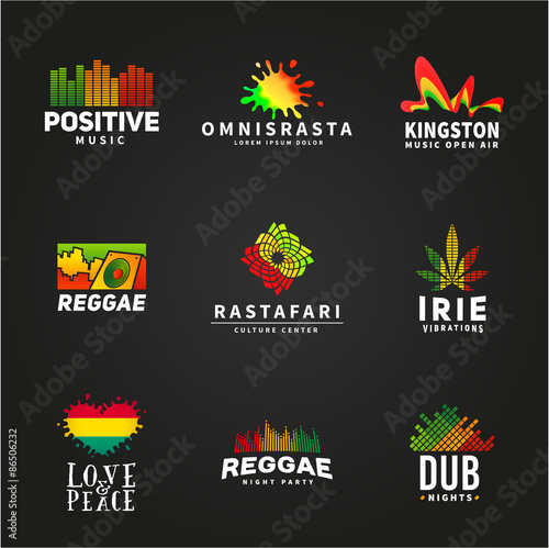 Valokuva  Set of positive africa ephiopia flag logo design. Jamaica reggae