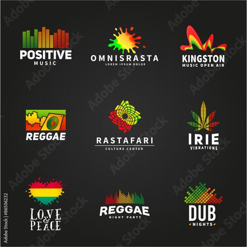 Fotografie, Obraz  Set of positive africa ephiopia flag logo design. Jamaica reggae