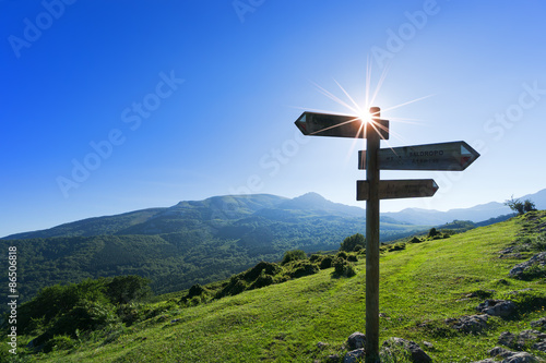 Fotomural  signpost in the mountain