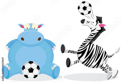 Hippo and Zebra play with Soccer Ball Poster