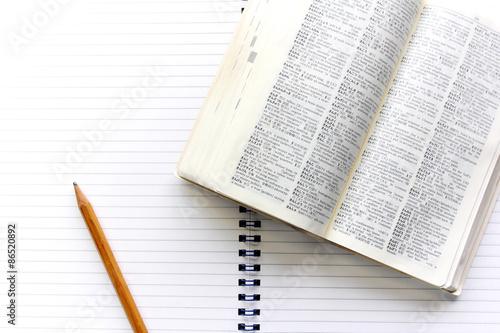 Fotografía  辞書 と ノ ー ト と 鉛筆