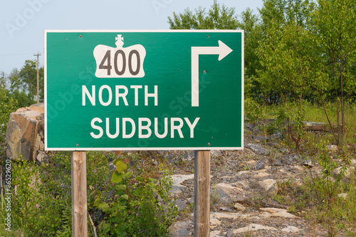 Fotografia  Highway 400 to Sudbury Traffic Sign