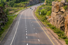 Highway 400 In Northern Ontario Through A Rock Cut