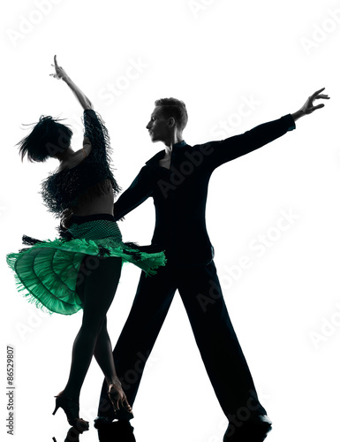 elegant couple dancers dancing silhouette Wallpaper Mural