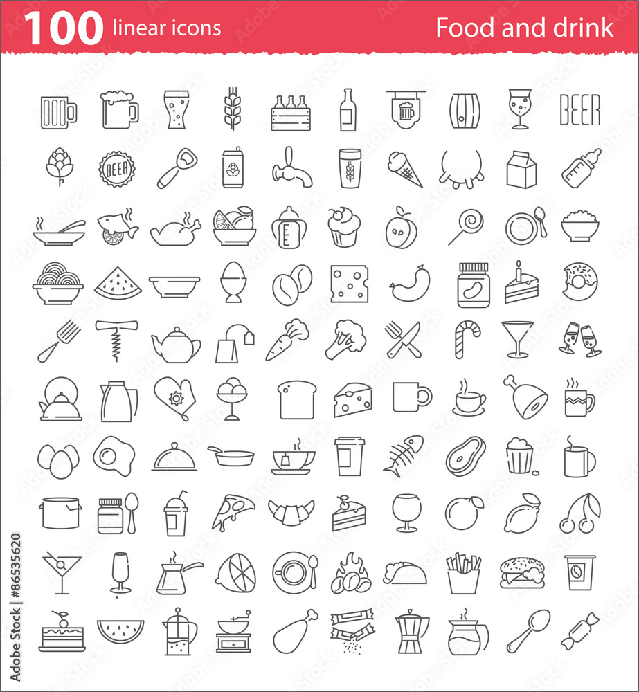 Fototapety, obrazy: One hundred thin line food and drink icons