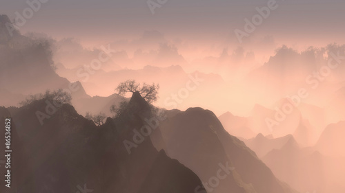 Spoed Foto op Canvas Cappuccino Forested mountain peaks with mist at dawn