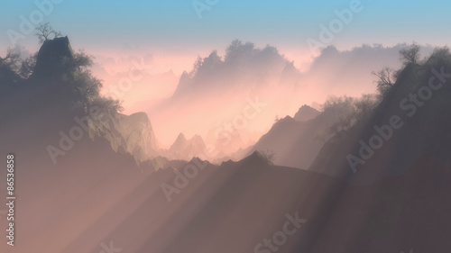 фотография  Tranquil Sunrays Over Mountain Forest at Sunrise