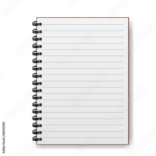 Fotografie, Tablou  Blank realistic spiral notebook with shadow