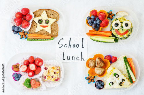 Cuadros en Lienzo school lunch boxes for kids with food in the form of funny faces