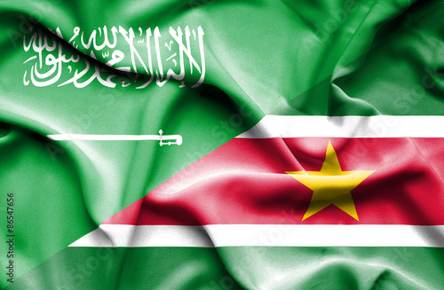 Poster Algérie Waving flag of Suriname and Saudi Arabia