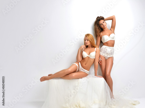 Fotografie, Obraz  Two beautiful brides in white lingerie standing in her bedroom