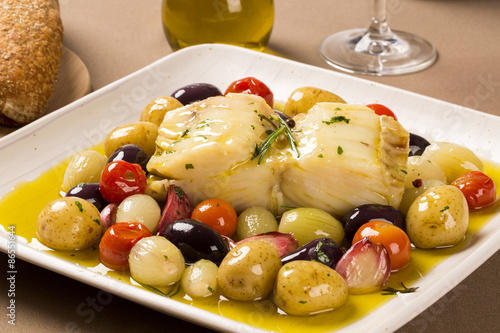 Foto  A typical Portuguese dish with codfish called Bacalhau do Porto