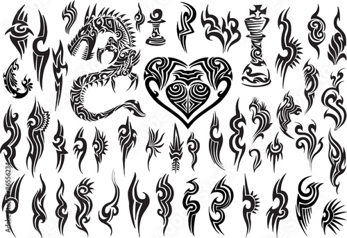 Foto auf AluDibond Cartoon draw Tribal Tattoo Vector Design Set