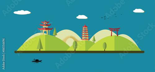Spoed Fotobehang Lichtblauw Asian landscape