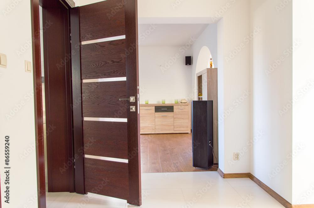 Photo Art Print Drewniane Otwarte Drzwi Do łazienki