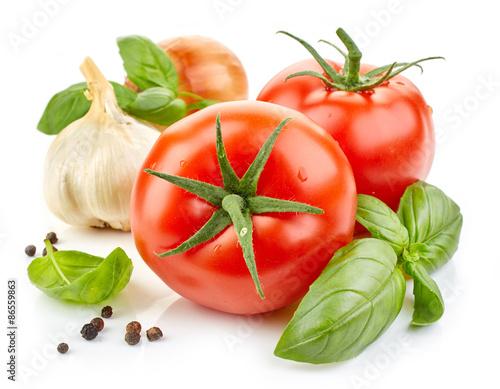Fototapeta fresh vegetables and basil leaf obraz