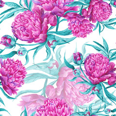 Obraz na Plexi Peonie Romantic Watercolor Pattern