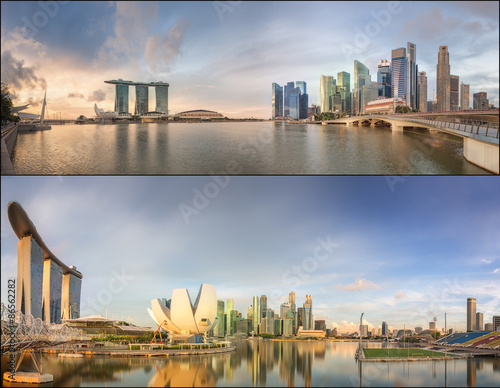 Photo  Set of Singapore Skyline and view in Marina Bay