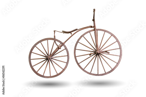 Photo sur Toile Velo old bicycle with wooden wheels isolated with clipping path