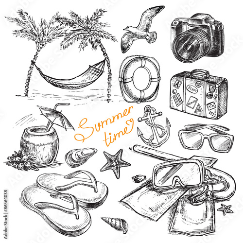 hand drawing summer set collection