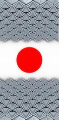 Fototapeta Japanese ocean background; 3d illustration graphics, white background.