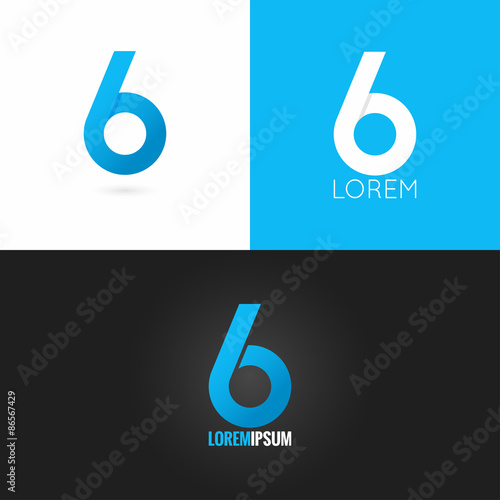 Photographie  number six 6 logo design icon set background