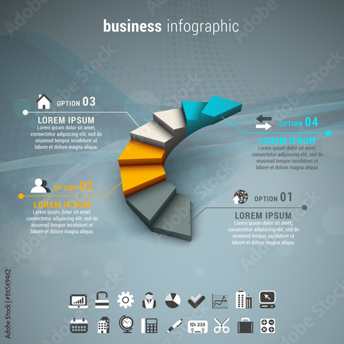 Photo  Business infographic made of stairs.