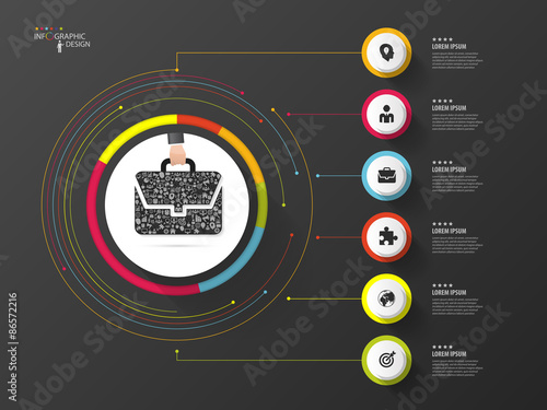Photo  Infographic. Business bag. Colorful circle with icons. Vector