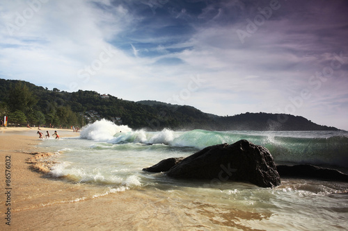 Foto op Aluminium Aubergine sea landscape quiet bay on the edge of the world Asia