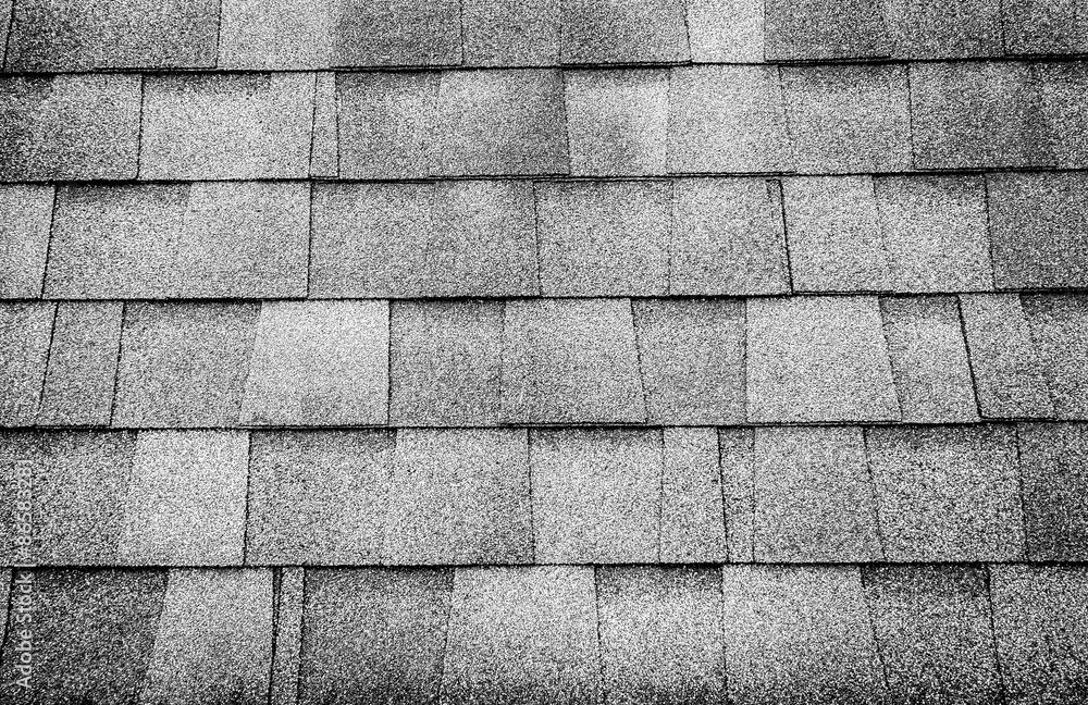 Fotografía Foto en blanco y negro, de cerca tejado textura de fondo ...